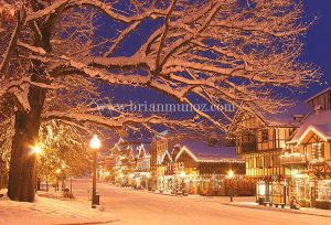 Early morning winter sunrise Christmas Lighting festival downtown Front street Leavenworth Washington