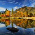 Fall Icicle river reflection Leavenworth Washington