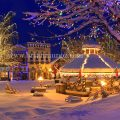 Early morning downtown panarama Christmas lighting festival Leavenworth Washington