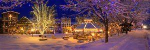Early morning downtown panarama Christmas lighting festival Leavenworth Washington