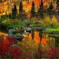 Mid morning fall reflection tumwater canyon Wenatchee river Leavenworth Washington