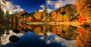 Fall panorama Icicle River Leavenworth WA
