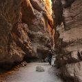 Photographer Brian Munoz hiking through the lower Slot Anza Borrego Desert State Park CA