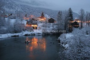 Winter evening from blackbird island Leavenworth Washington