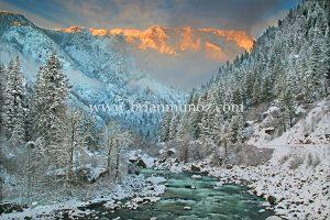 Wenatchee River winter sunrise -Tumwater Canyon from Leavenworth WA